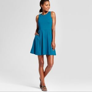 New women's ponte fit & Flare dress Large teal